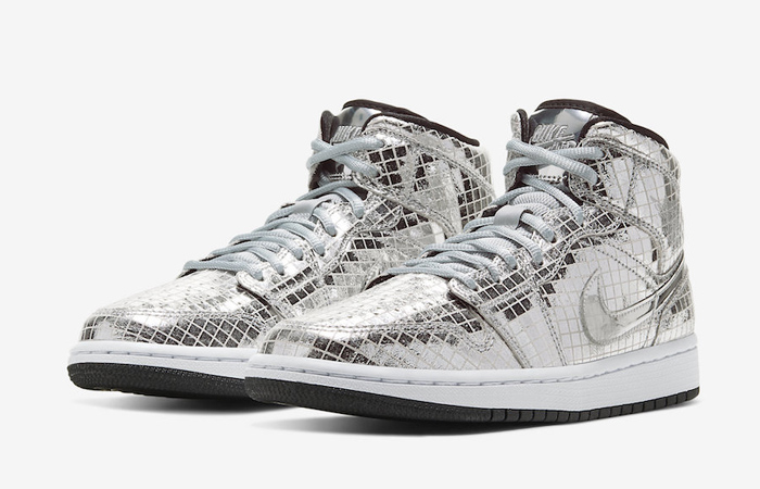 Nike Air Jordan 1 Mid Disco Ball Metallic Silver CU9304-001 02