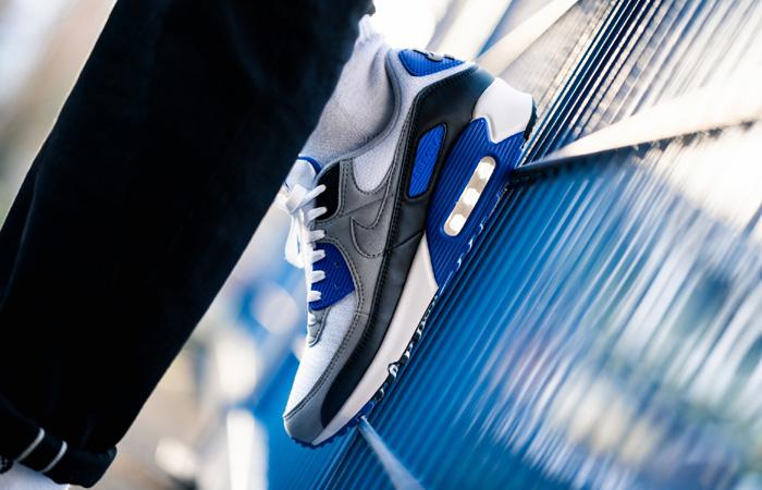 Nike Air Max 90 Grey Royal Blue CD0881-102 on foot 03
