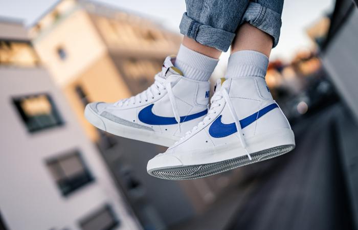 Nike Blazer Mid '77 Vintage Blue Swoosh BQ6806-103 on foot 01