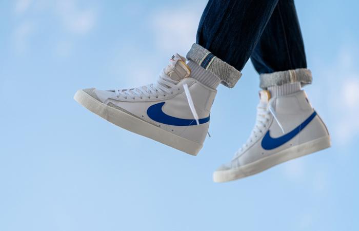 Nike Blazer Mid '77 Vintage Blue Swoosh BQ6806-103 on foot 02