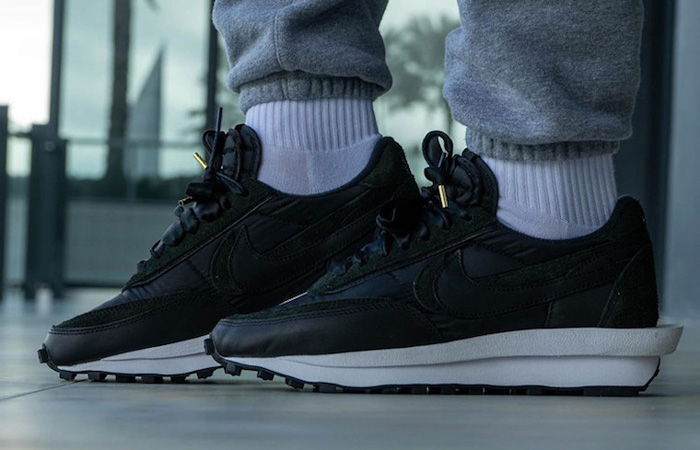 On Foot Look At The sacai Nike LDWaffle Black Nylon ft
