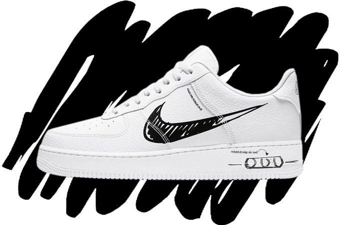 Nike Air Force 1 Sketch Swoosh Representing The Black Marker Look ft
