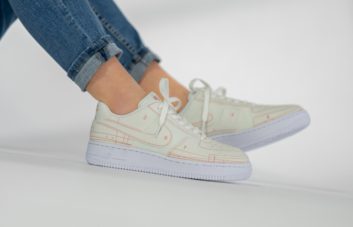 Nike Air Force 1 White University Red CI3445-100 on foot 01