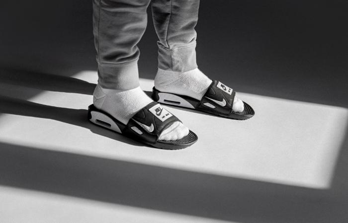air max 90 slide blanche et noire