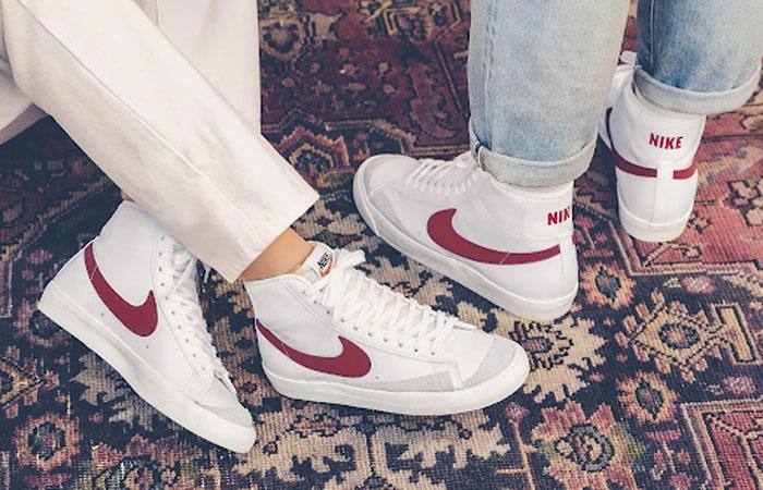 Nike Blazer Mid 77 Red Swoosh BQ6806-102 on foot 01