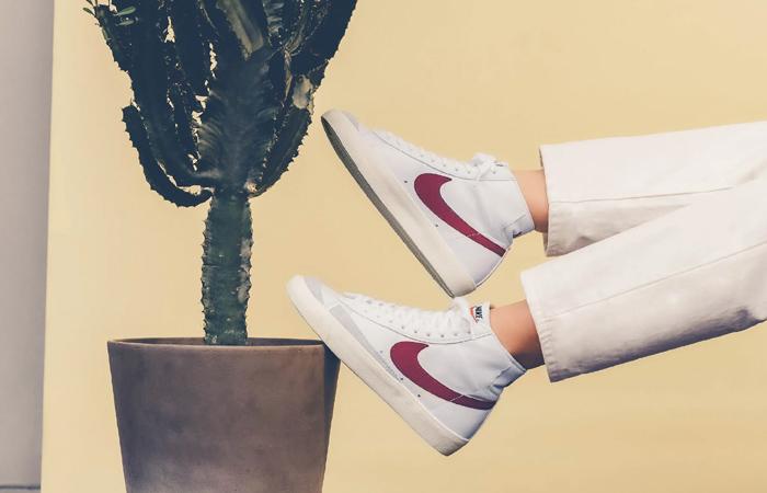 Nike Blazer Mid 77 Red Swoosh BQ6806-102 on foot 02