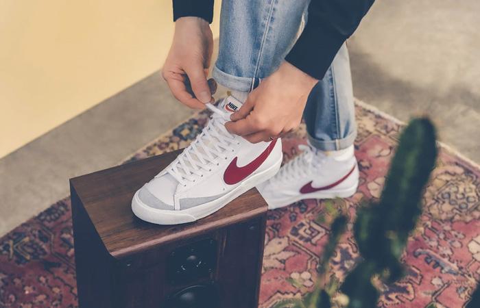 Nike Blazer Mid 77 Red Swoosh BQ6806-102 on foot 03