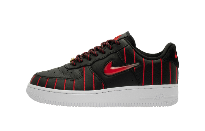 Nike Womens Air Force 1 JEWEL QS Black Red CU6359-001 01