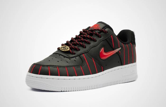 Nike Womens Air Force 1 JEWEL QS Black Red CU6359-001 02