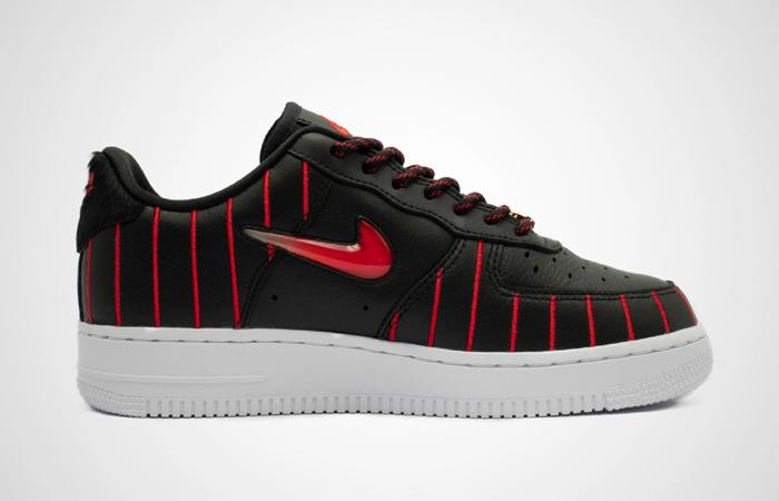 Nike Womens Air Force 1 JEWEL QS Black Red CU6359-001 03