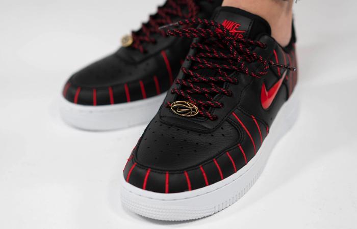 Nike Womens Air Force 1 JEWEL QS Black Red CU6359-001 on foot 02