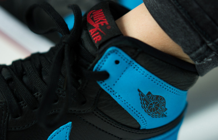 Nike Womens Air Jordan 1 High OG UNC TO CHICAGO Black CD0461-046 on foot 02