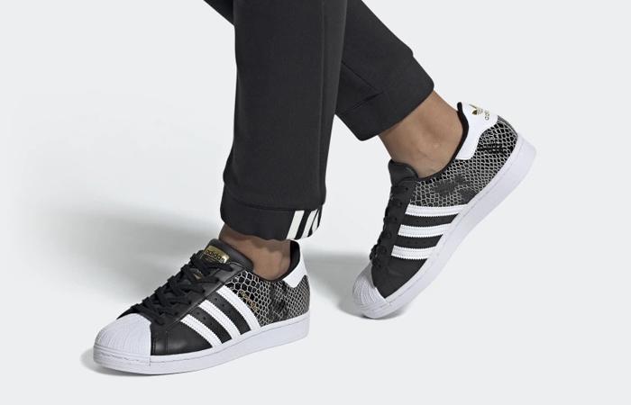 adidas superstar black and white snakeskin