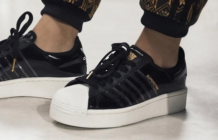 adidas Womens Superstar Bold Shiny Black