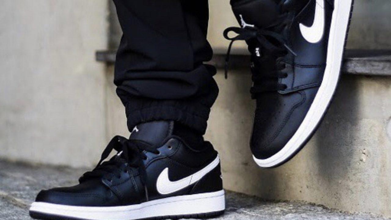 jordan 1 black white on feet