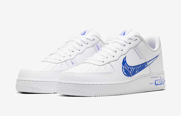 Nike Air Force 1 Low Blue Sketch White CW7581-100 02