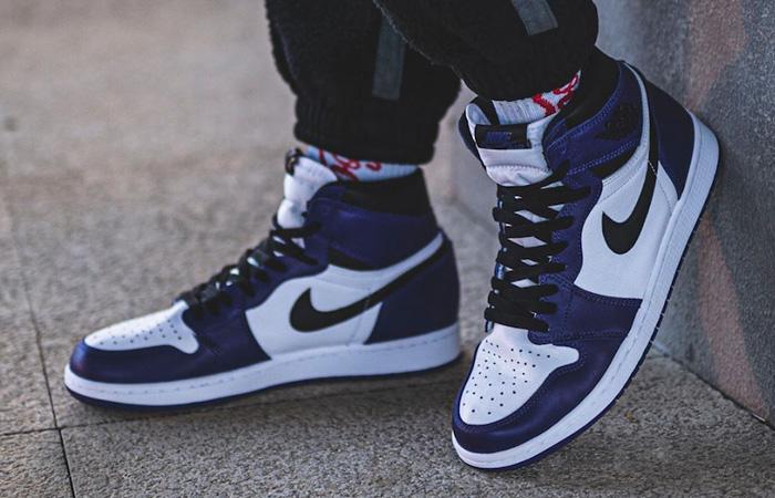 Nike Air Jordan 1 Purple 555088-500 on foot 01