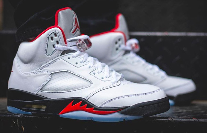 On-Foot Look at the Nike Air Jordan 5 Retro Fire Red White ft