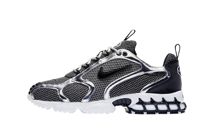 Stussy Nike Air Zoom Spiridon Caged Black Metalic Silver CU1854-001 01