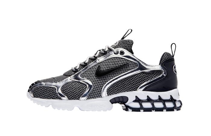 Stussy Nike Air Zoom Spiridon Caged Black Metalic Silver CU1854-001 01
