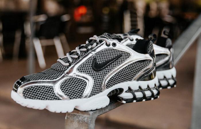 Stussy Nike Air Zoom Spiridon Caged Black Metalic Silver CU1854-001 02
