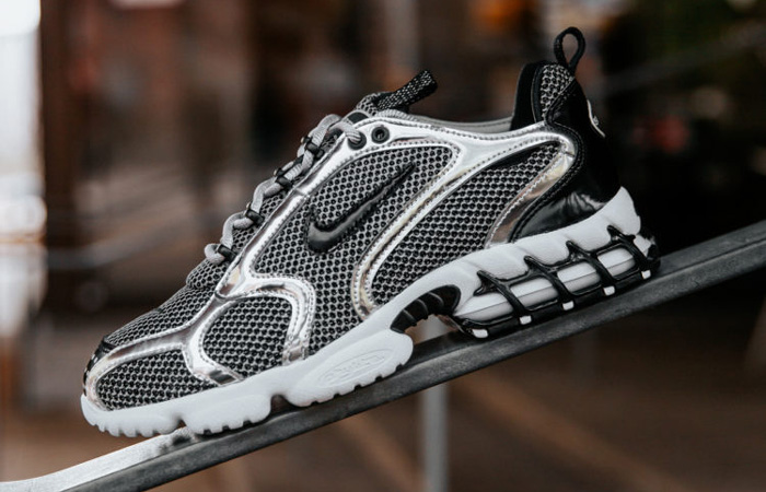 Stussy Nike Air Zoom Spiridon Caged Black Metalic Silver CU1854-001 03