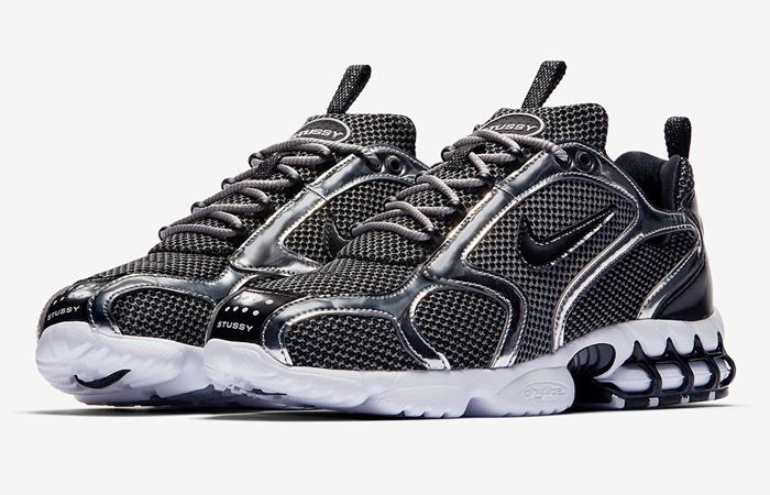 Stussy Nike Air Zoom Spiridon Caged Black Metalic Silver CU1854-001 05