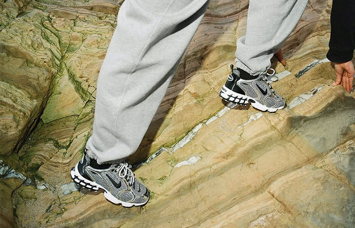 Stussy Nike Air Zoom Spiridon Caged Black Metalic Silver CU1854-001 on foot 01