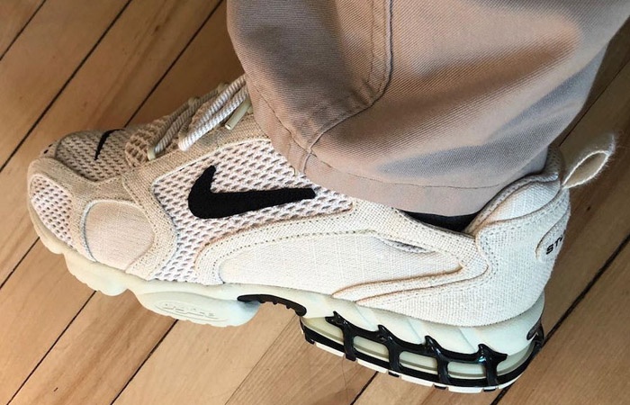 Stussy Nike Air Zoom Spiridon Caged Sand CQ5486-200 on foot 01