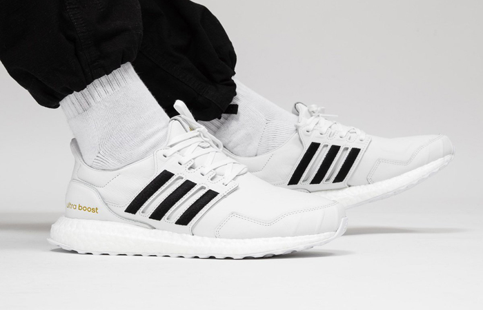 adidas UltraBOOST DNA Leather Black White EH1210 on foot 01
