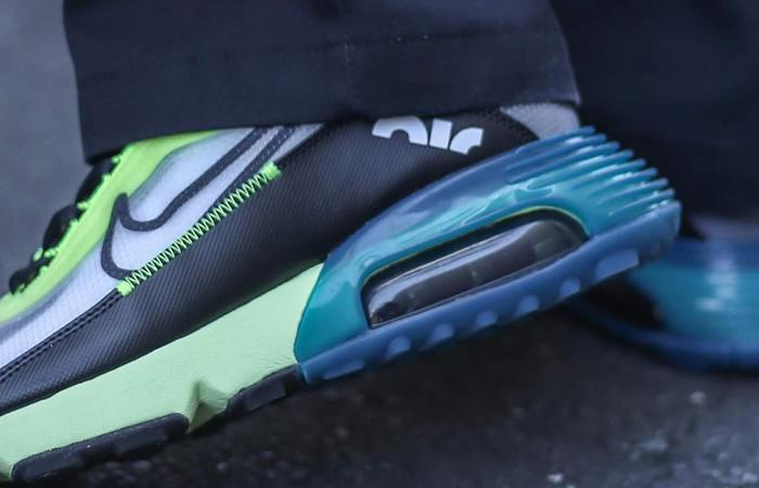 Nike Air Max 2090 Blue Lime Volt BV9977-101 on foot 02