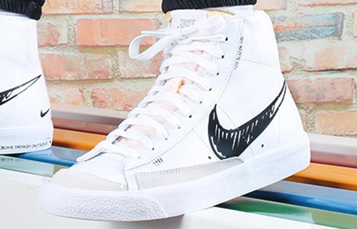 Nike Blazer Mid 77 Black Sketch White CW7580-101 on foot 02