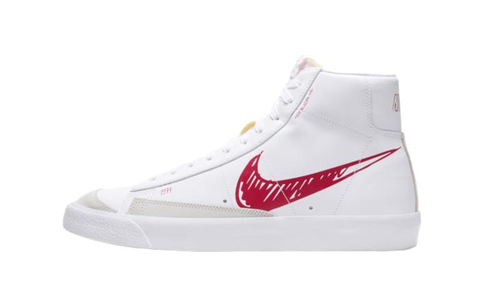 Nike Blazer Mid 77 Red Sketch White CW7580-100 01