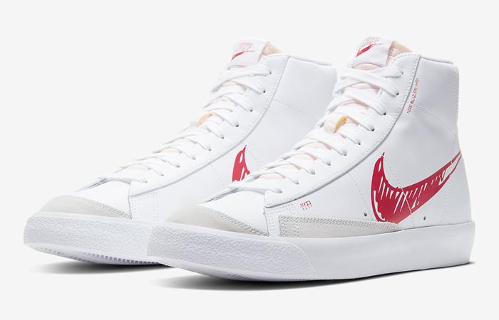 Nike Blazer Mid 77 Red Sketch White CW7580-100 02