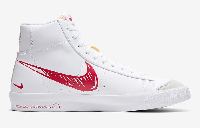 Nike Blazer Mid 77 Red Sketch White CW7580-100 03