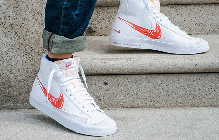 Nike Blazer Mid 77 Red Sketch White CW7580-100 on foot 02