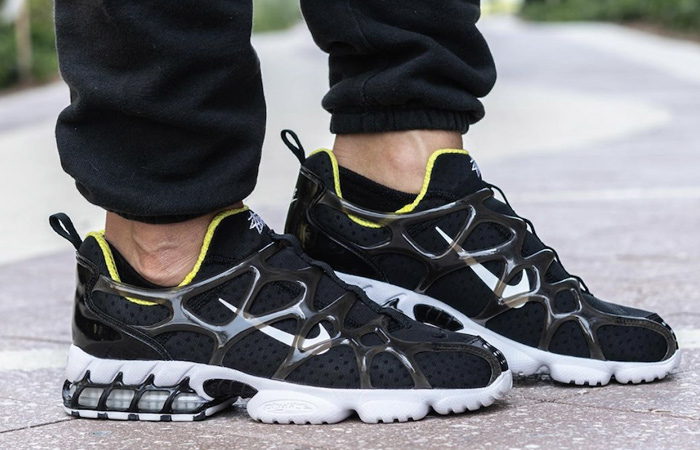 On Foot Look At The Stussy Nike Air Zoom Spiridon KK Black ft