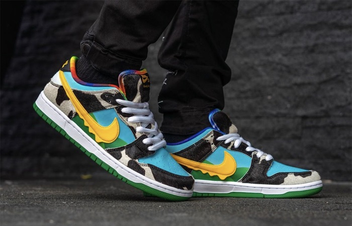 Ben & Jerry Nike SB Dunk Low Chunky Dunky Green Multi CU3244-100 on foot 01