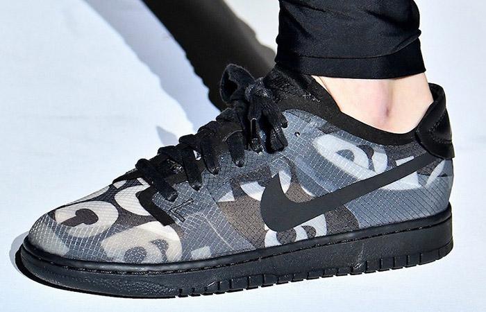 Comme des Garcons Nike Dunk Low Print Black Ash CZ2675-001 on foot 01