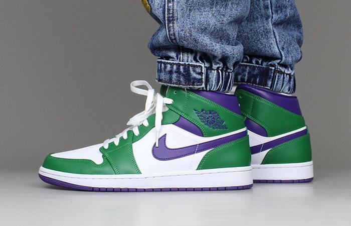 Jordan 1 Mid Green Purple 554724-300 on foot 01