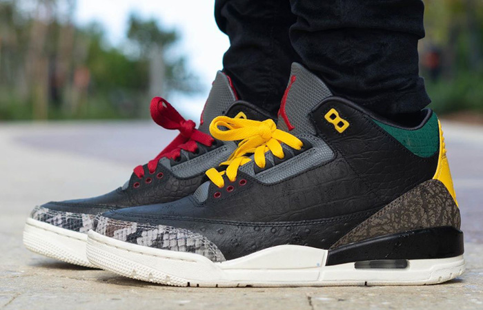 Jordan 3 SE Animal Instinct 2.0 Snakeskin Black CV3583-003 on foot 01