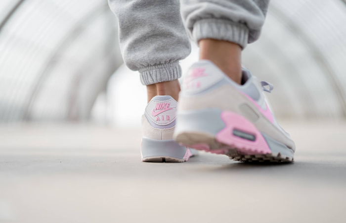 Nike Air Max 90 Wolf Grey Pink CW7483-001 on foot 03