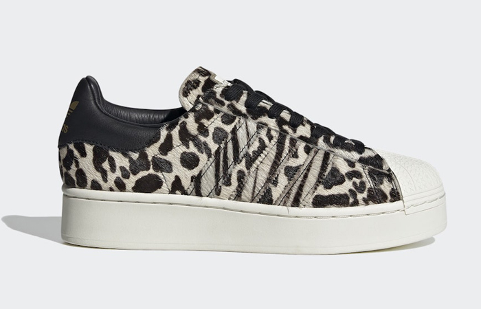 Official Look At The adidas Superstar Bold Animal Print Beige ft