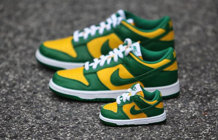 "The Nike Dunk Low ""Brazil"" Will Be Releasing With Full Family Sizing ft"