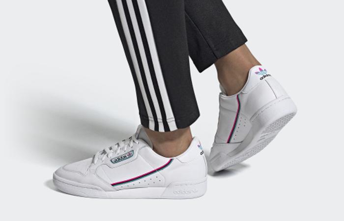 adidas Continental 80 White Aqua Blue FX3516 on foot 01