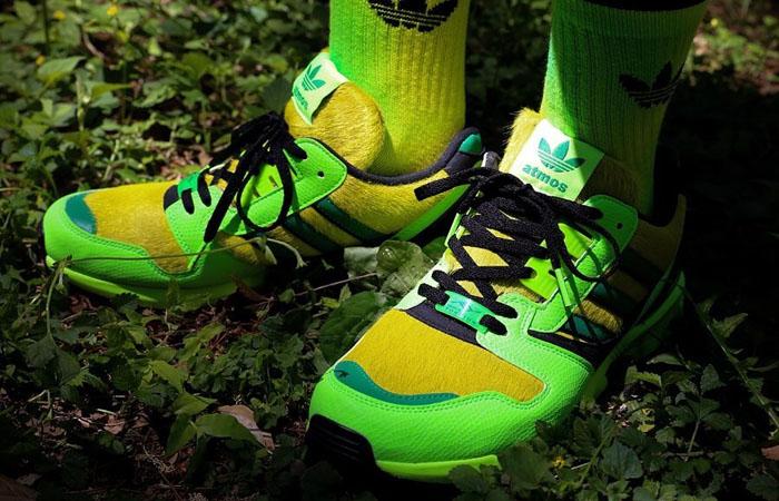 atmos adidas ZX 8000 G-SNK Parrot Green FX8593 on foot 01