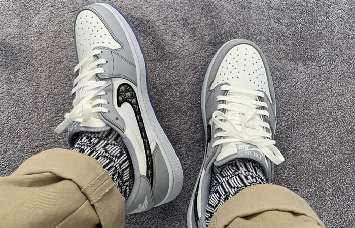 Dior Jordan 1 Low Grey CN8608-002 on foot 01
