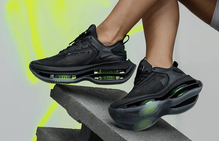 Nike Womens Zoom Double Stacked Black Volt CI0804-001 on foot 03