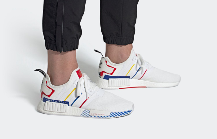 adidas NMD R1 Olympic Pack White FY1432 on foot 01