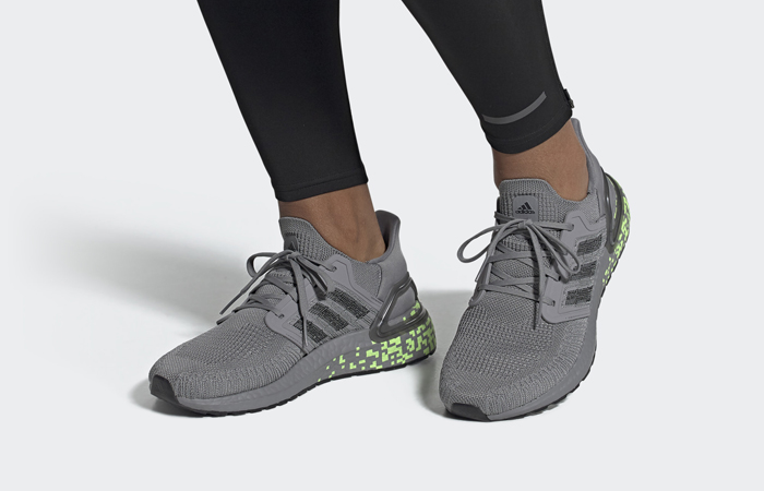 adidas Performance Ultra Boost 20 Grey Black EG0705 on foot 01